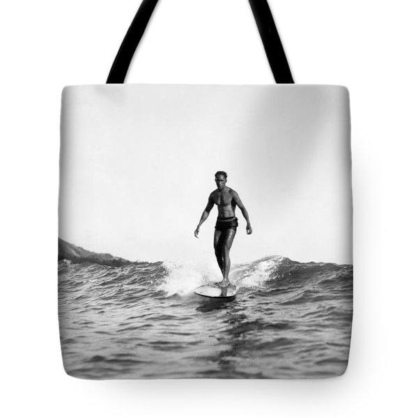 Surfing At Waikiki Beach Tote Bag