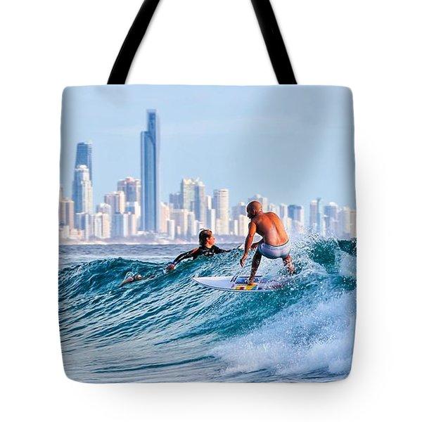 Surfing Burleigh Tote Bag