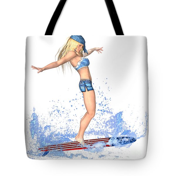Surfing Girl Tote Bag by Renate Janssen