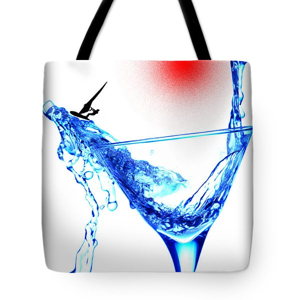 Surfing In A Cup Of Martini Little People On Food Tote Bag by Paul Ge