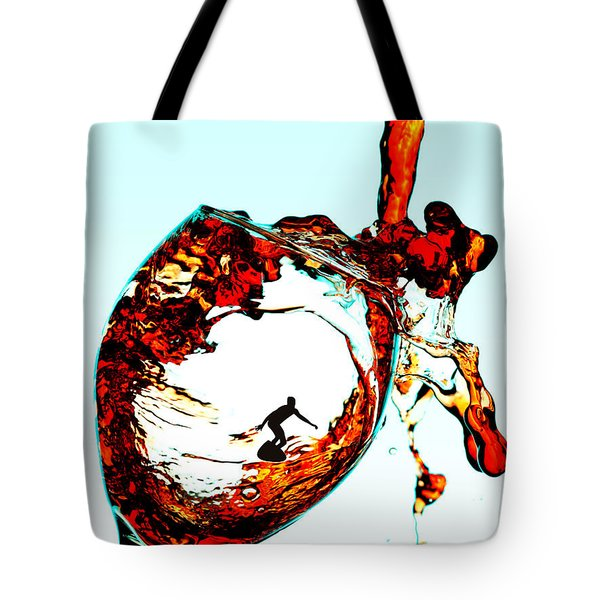 Surfing In A Cup Of Wine Little People On Food Tote Bag by Paul Ge