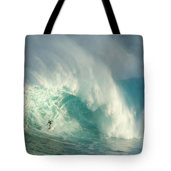 Surfing Jaws 3 Tote Bag by Bob Christopher
