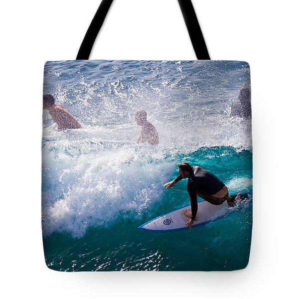 Surfing Maui Tote Bag by Adam Romanowicz