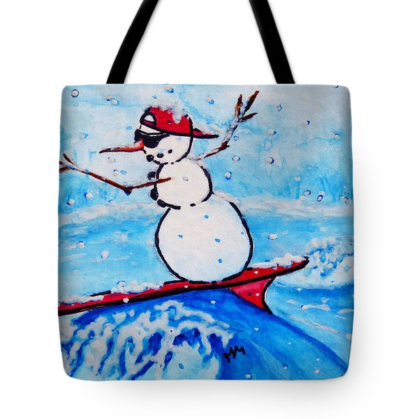 Surfing Snowman Tote Bag