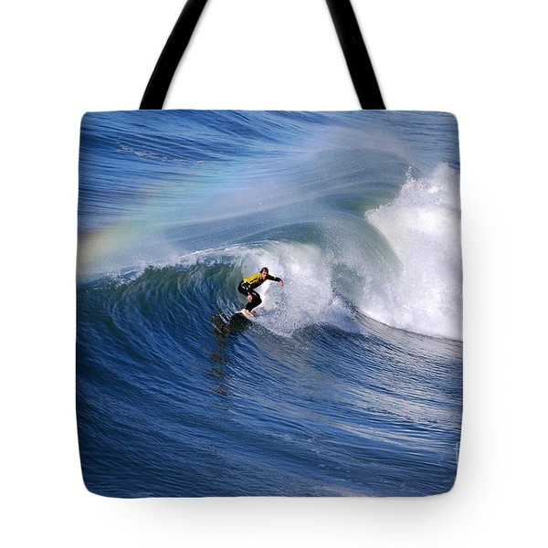 Surfing Under A Rainbow Tote Bag by Catherine Sherman