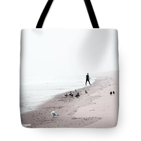 Tote Bag featuring the photograph Surfing Where The Ocean Meets The Sky by Brooke T Ryan