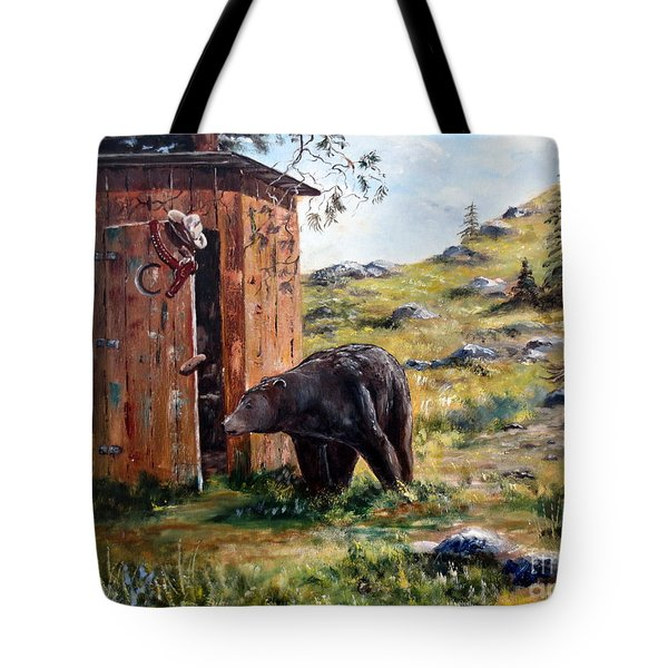 Tote Bag featuring the painting Surprise Visit by Lee Piper