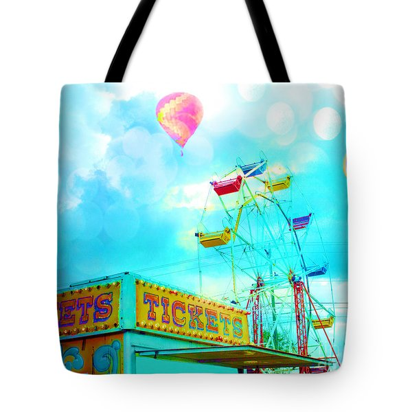 Surreal Aqua Teal Carnival Tickets Booth With Ferris Wheel And Hot Air Balloons - Carnival Fair Art Tote Bag