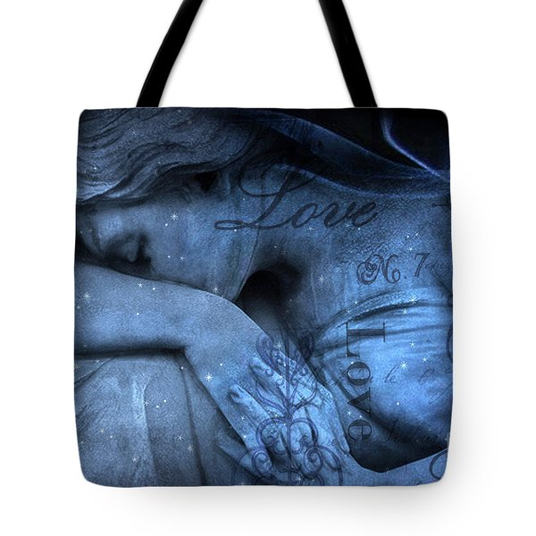 Surreal Blue Sad Mourning Weeping Angel Lost Love - Starry Blue Angel Weeping With Love Script Tote Bag