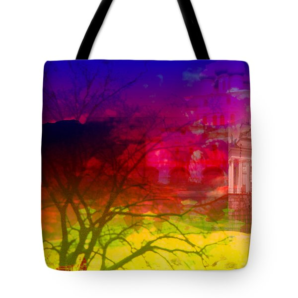 Tote Bag featuring the digital art Surreal Buildings  by Cathy Anderson