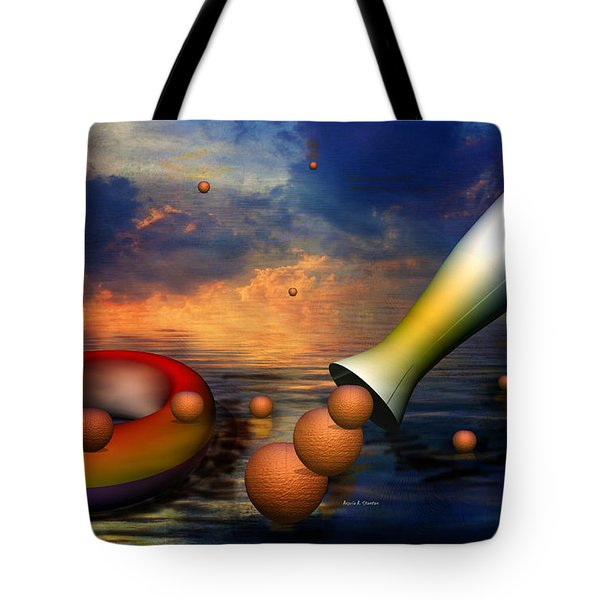 Surreal Dinner Served Over The Ocean Tote Bag by Angela A Stanton