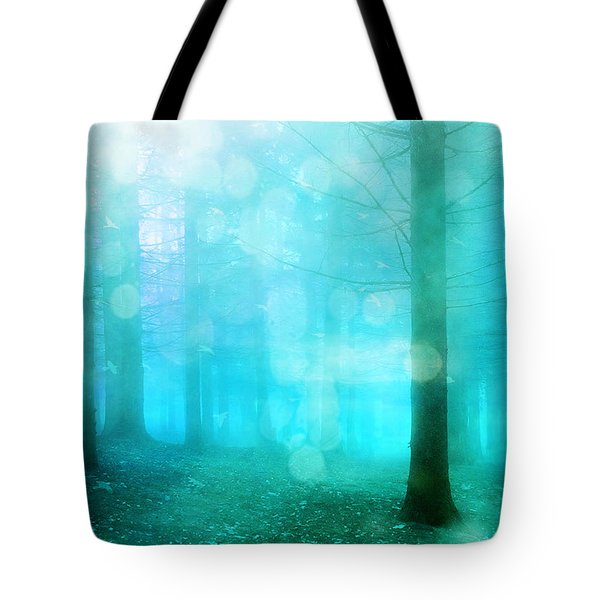 Surreal Dreamy Fantasy Bokeh Aqua Teal Turquoise Woodlands Trees  Tote Bag by Kathy Fornal