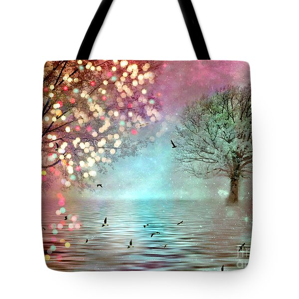 Fairytale Fantasy Trees Surreal Dreamy Twinkling Sparkling Fantasy Nature Trees Home Decor Tote Bag