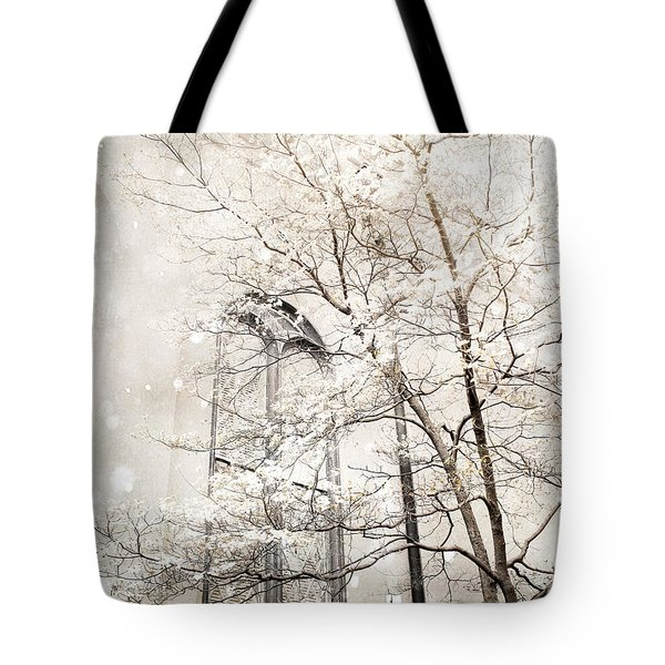 Surreal Dreamy Winter White Church Trees Tote Bag