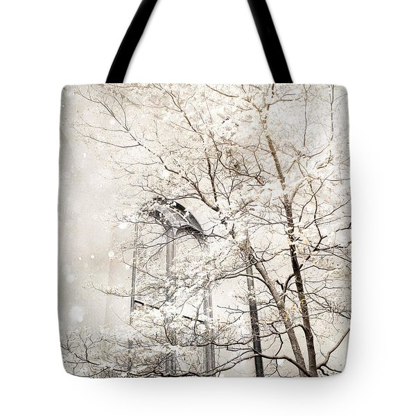 Surreal Dreamy Winter White Church Trees Tote Bag by Kathy Fornal