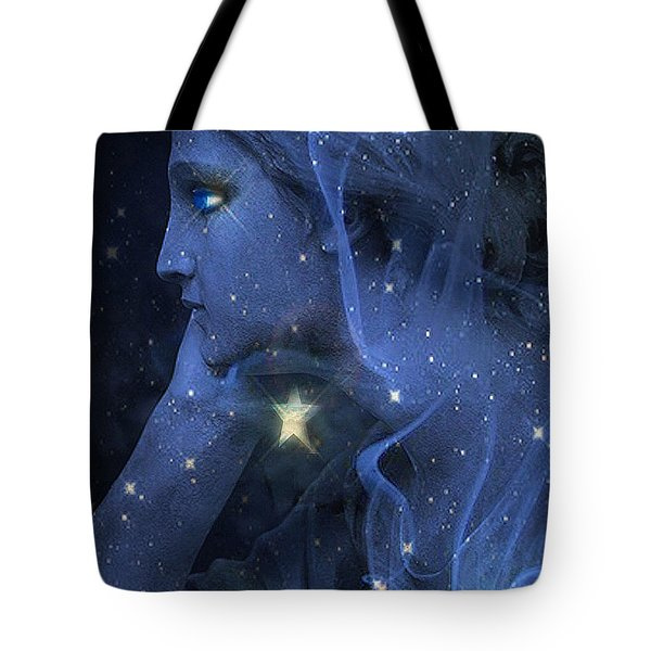 Surreal Fantasy Celestial Blue Angelic Face With Stars Tote Bag