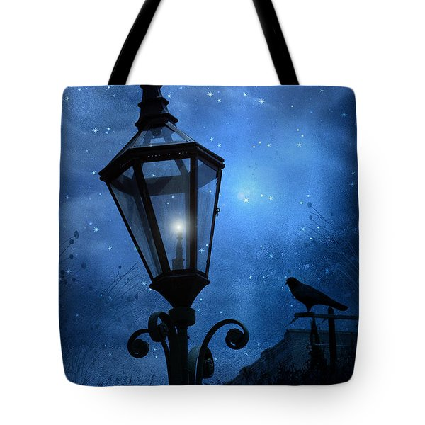 Surreal Fantasy Gothic Blue Night Lantern With Ravens - Starry Night Surreal Lantern Blue Moon Tote Bag by Kathy Fornal