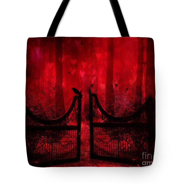 Surreal Fantasy Gothic Red Forest Crow On Gate Tote Bag by Kathy Fornal