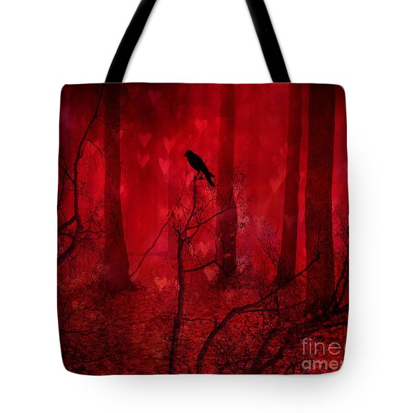 Surreal Fantasy Gothic Red Woodlands Raven Trees Tote Bag by Kathy Fornal