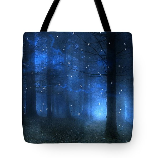 Surreal Fantasy Haunting Blue Sparkling Woodlands Forest Trees With Stars - Starlit Fantasy Nature Tote Bag by Kathy Fornal