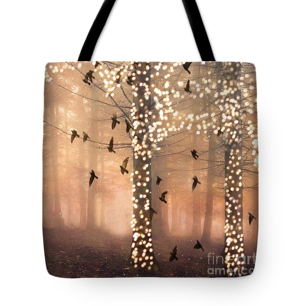 Surreal Fantasy Nature Trees Woodlands Forest Sparkling Lights Birds And Trees Nature Landscape Tote Bag
