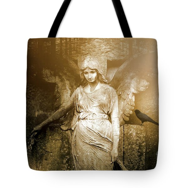 Surreal Gothic Angel Art Photography - Spiritual Ethereal Sepia Angel With Black Raven  Tote Bag