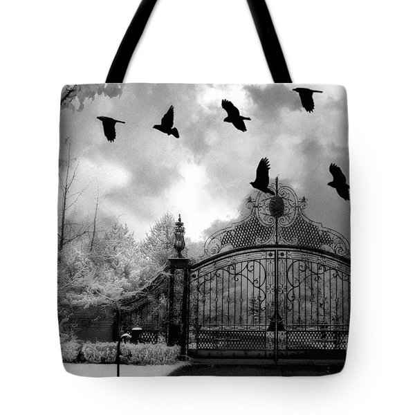 Surreal Gothic Black And White Gate With Flying Ravens  Tote Bag