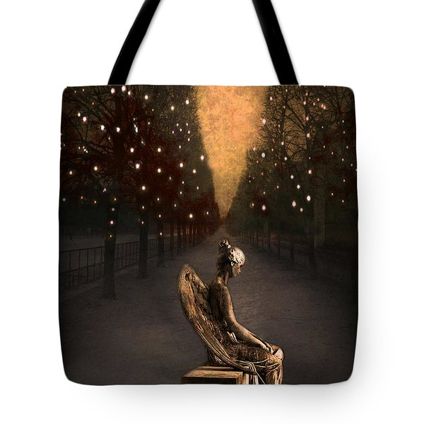 Surreal Gothic Angel Haunting Emotive Angel Sitting On Bench -fantasy Surreal Gothic Angel Prints Tote Bag