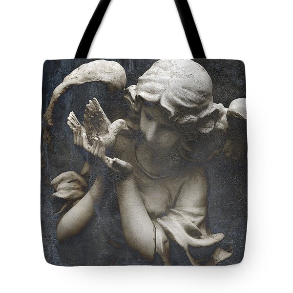 Ethereal Guardian Angel With Dove Of Peace Tote Bag