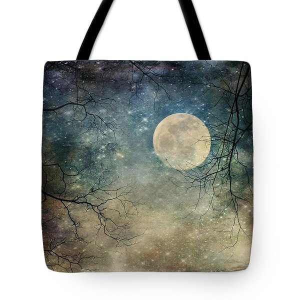 Surreal Night Sky Moon And Stars Tote Bag