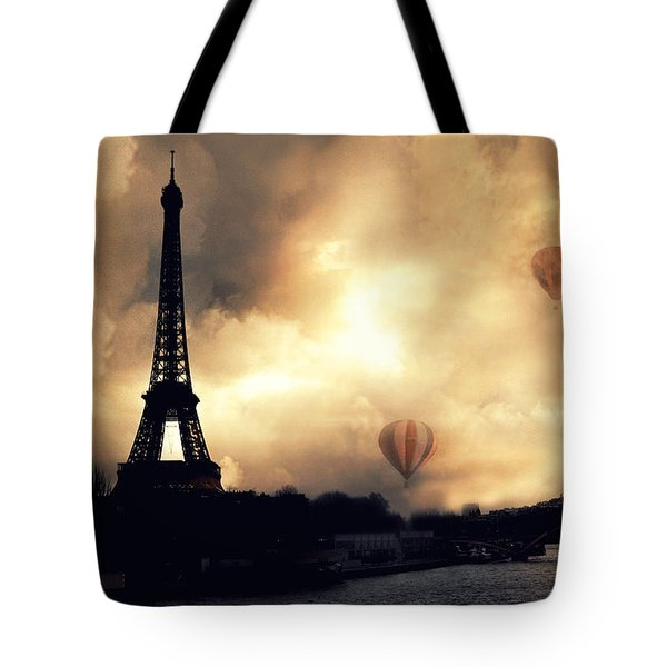 Paris Eiffel Tower Storm Clouds Sunset Sepia Hot Air Balloons Tote Bag