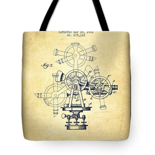 Surveying Instrument Patent From 1901 - Vintage Tote Bag