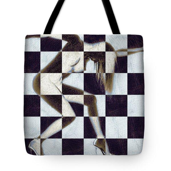 Survive Nude Woman Checkered 2 Tote Bag by Tony Rubino
