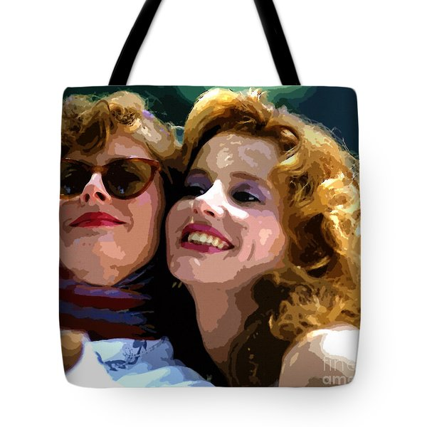 Susan Sarandon And Geena Davies Alias Thelma And Louis - Watercolor Tote Bag