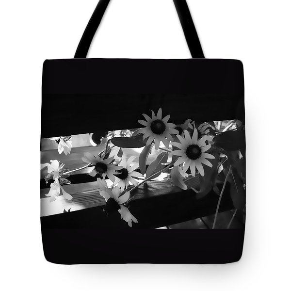 Tote Bag featuring the photograph Susans In Black And White by Ellen Tully