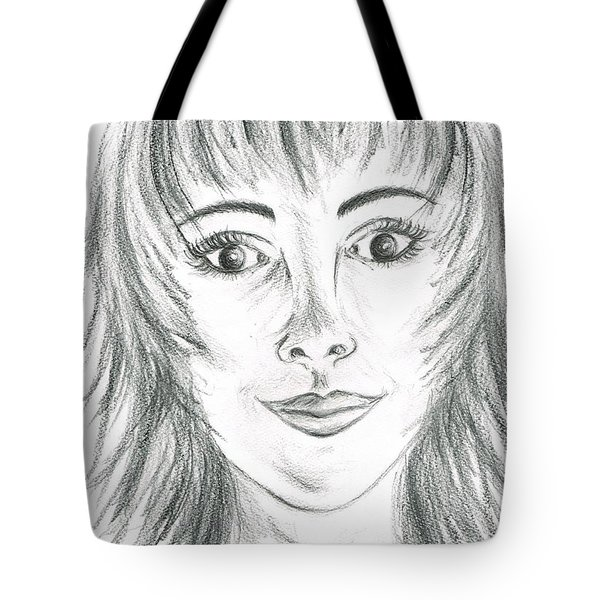 Tote Bag featuring the drawing Portrait Stunning by Teresa White