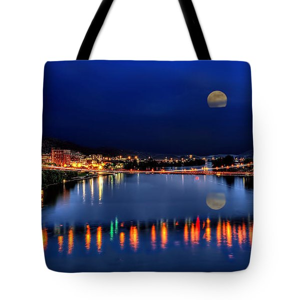 Suspension Bridge Wheeling Wv Panoramic Tote Bag by Dan Friend