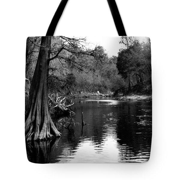 Suwannee River Black And White Tote Bag