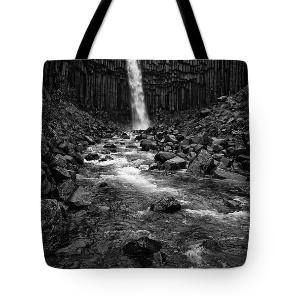Svartifoss Waterfall In Black And White Tote Bag