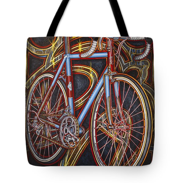 Tote Bag featuring the painting Swallow Bespoke Bicycle by Mark Howard Jones