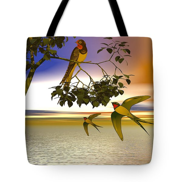 Tote Bag featuring the digital art Swallows At Sunset by Sandra Bauser Digital Art