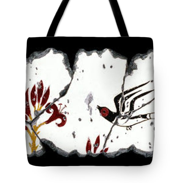 Swallows With Lilies No. 5 Tote Bag by Steve Bogdanoff