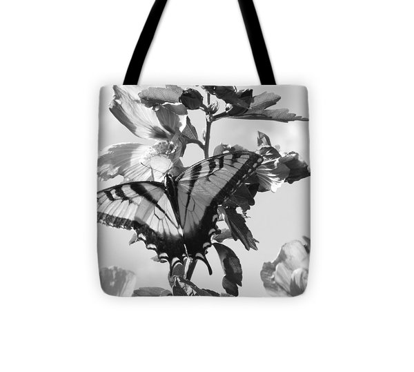 Swallowtail And Rose Of Sharon Bw Tote Bag by Diannah Lynch
