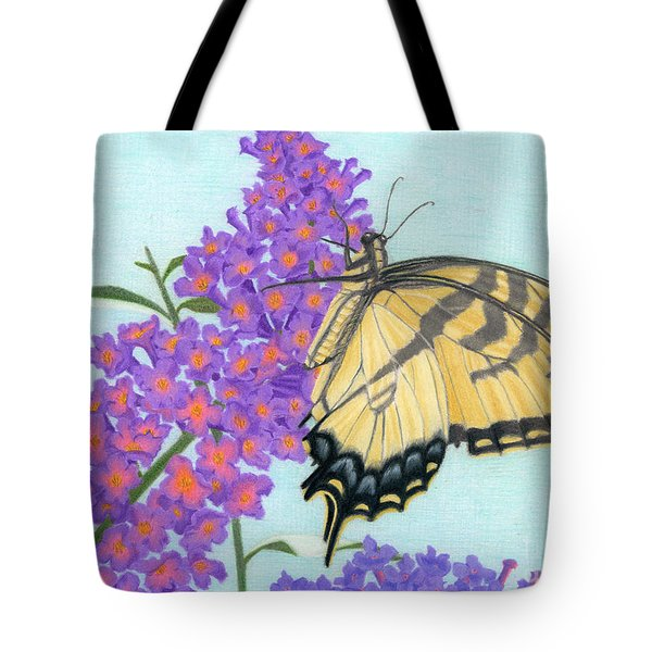 Swallowtail Butterfly And Butterfly Bush Tote Bag by Sarah Batalka