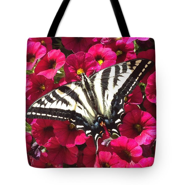 Swallowtail Butterfly Full Span On Fuchsia Flowers Tote Bag