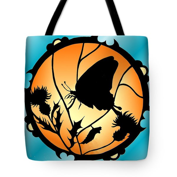 Swallowtail Butterfly Stained Glass Tote Bag