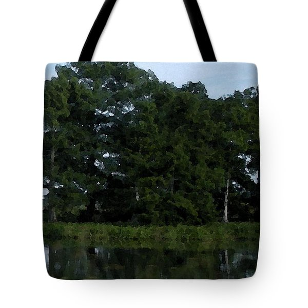 Swamp Cypress Trees Digital Oil Painting Tote Bag