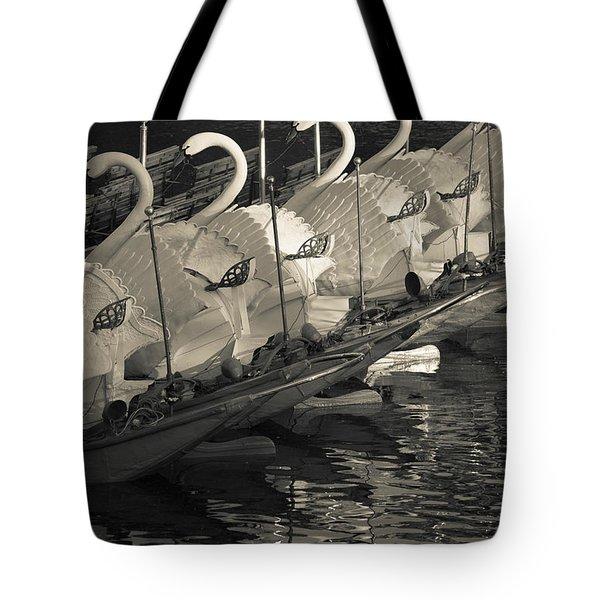 Swan Boats In A River, Boston Public Tote Bag