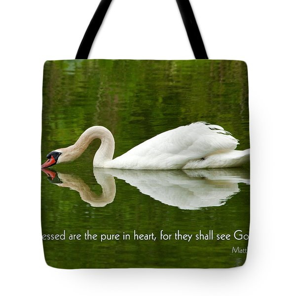 Swan Heart Bible Verse Greeting Card Original Fine Art Photograph Print As A Gift Tote Bag by Jerry Cowart