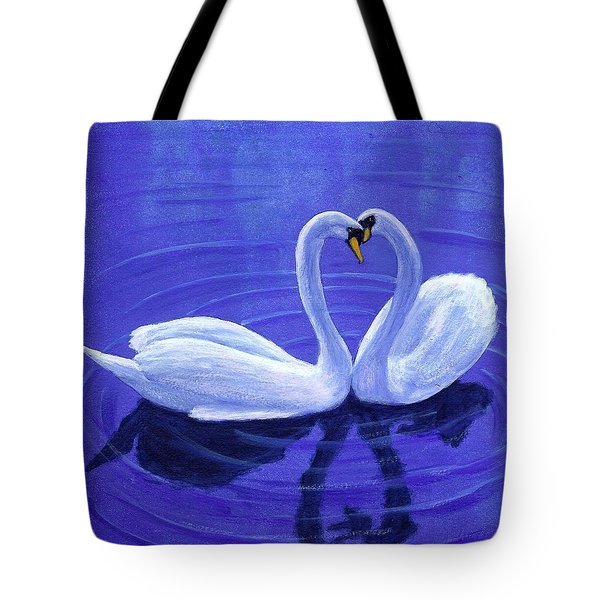 Swan Hearts Tote Bag